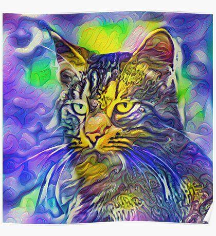 Artificial neural style iris flower cat Poster