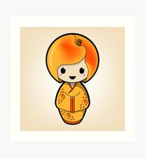 Peach Kokeshi Doll Art Print
