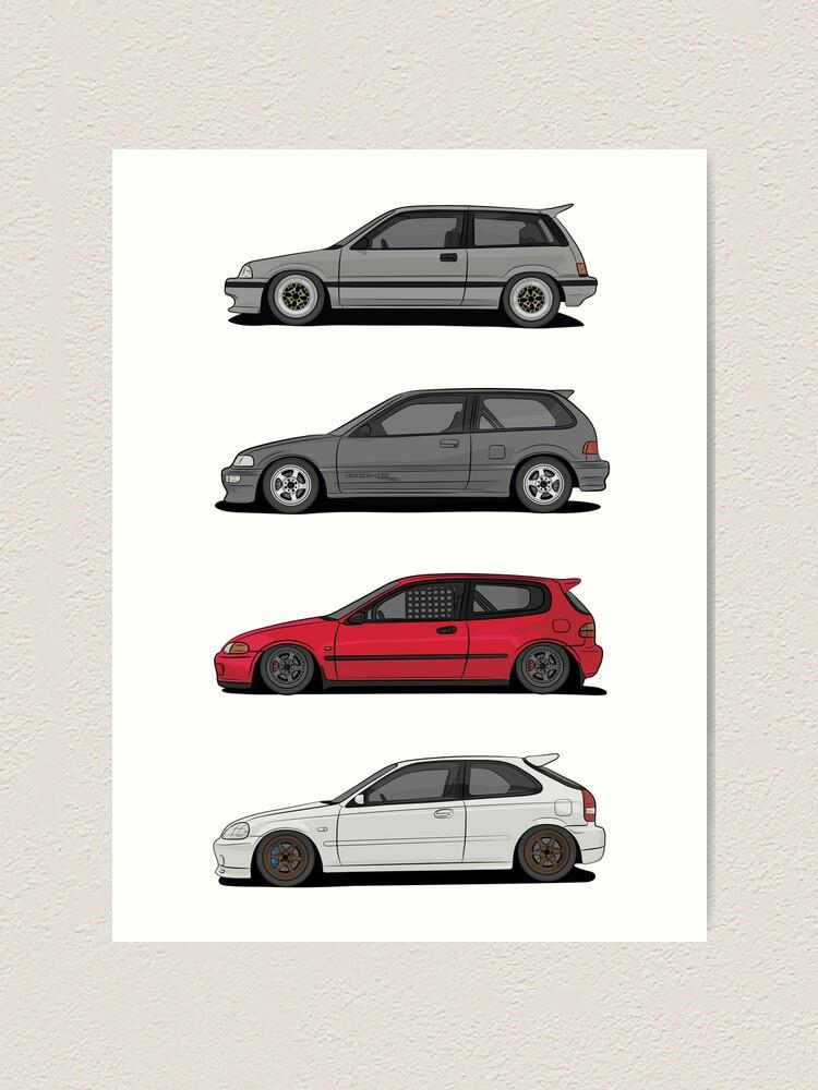 Honda Civic Generations >> Honda Civic Generations Art Print
