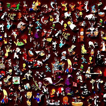 Cartoon Characters on red background by surrealpete