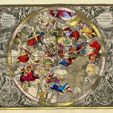 Celestial Luxury Gold Edition - Andreas Cellarius Chart Haemisphaerium Posterius by Captain7