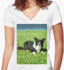 Bob in the Daisies Women's Fitted V-Neck T-Shirt