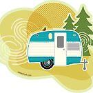 «Glamper Camper - Ilustración Retro Camper» de Amanda Weedmark