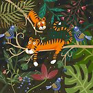 The tigers with singing blue birds by craftipixel