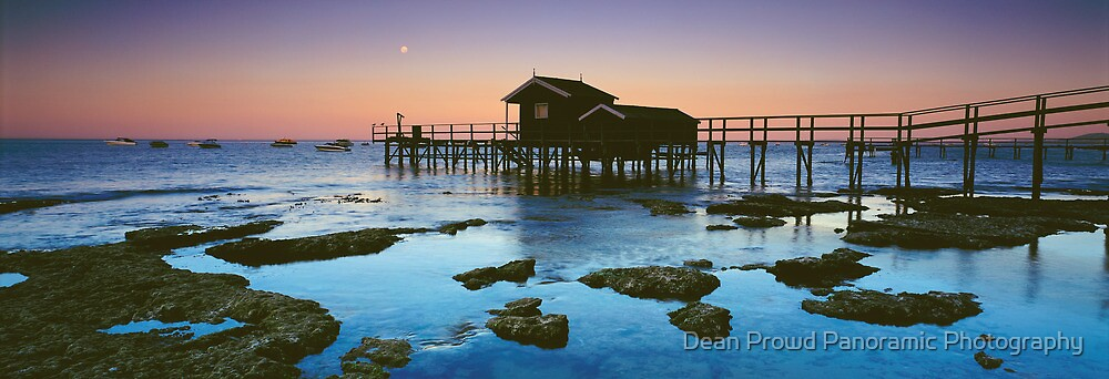 Moonlight at Shelly Beach Boathouse by Dean Prowd Panoramic Photography