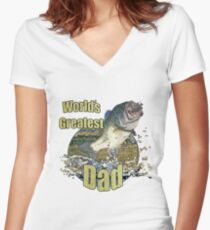 Worlds greatest dad Women's Fitted V-Neck T-Shirt