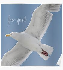 Gull with Inspirational Saying Poster