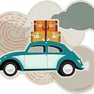 «Insecto de viaje - Ilustración de coche retro» de Amanda Weedmark