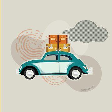 Insecto de viaje - Ilustración de coche retro de amandaweedmark