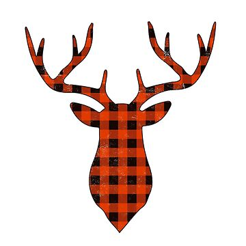 Cute Christmas Gifts Reindeer Buffalo Plaid Deer Holiday Shirts  by arnaldog