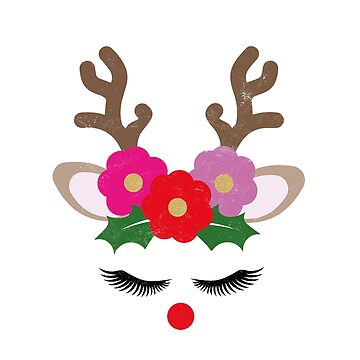Funny Christmas Shirts Reindeer Girl Face Pretty Flowers Novelty Gifts   by arnaldog