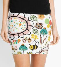 Bees and Flowers Mini Skirt