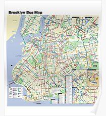 Póster Mapa del autobús de Brooklyn - Estados Unidos