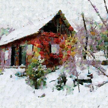 A digital painting, in the style of Leonid, of Our Barn in the Snow by ZipaC