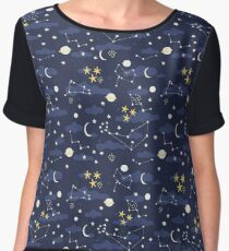 cosmos, moon and stars. Astronomy pattern Chiffon Top