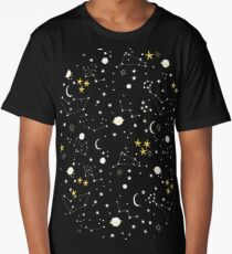 cosmos, moon and stars. Astronomy pattern Long T-Shirt