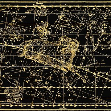 Aries Constellation, Astronomy, Astrology, Zodiac, Horoscope, Vintage Engraving Art Map by MySunLife