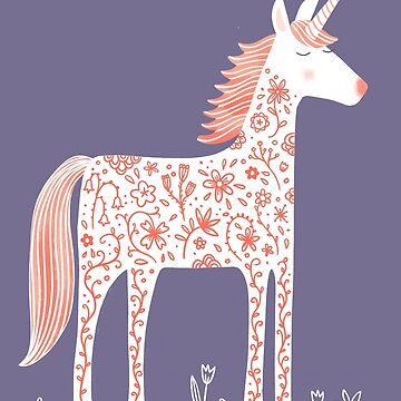 Unicorn with Flowers Purple by squirrell