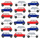 Classic car, vintage car, Retro Mini car in red white and blue, a patriotic British design for kids of all ages! by MagentaRose