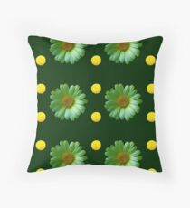 Yellow And Green Flowers Design Floor Pillow