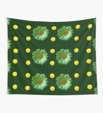 Yellow And Green Flowers Design Wall Tapestry