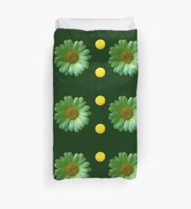 Yellow And Green Flowers Design Duvet Cover