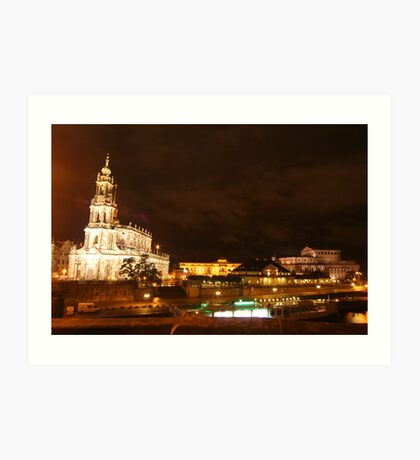 Nocturnal panorama of Dresden at the River Elbe Art Print