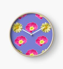 Pink And Yellow Flower Design Clock