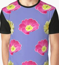 Pink And Yellow Flower Design Graphic T-Shirt