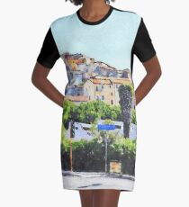 View of the village of Scalea with traffic lights Graphic T-Shirt Dress