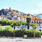 View of the village of Scalea with traffic lights by Giuseppe Cocco