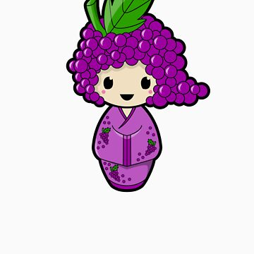 Grape Kokeshi Doll by BubbleDoll