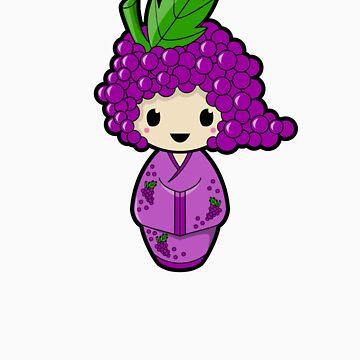 Grape Kokeshi Doll by BubbleDoll