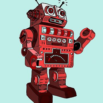 robot robot machine AI KI mechanics retro physic automatic toy red big man lights by originalstar