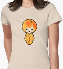 Peach Kokeshi Doll Women's Fitted T-Shirt