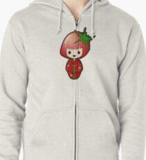 Strawberry Kokeshi Doll Zipped Hoodie