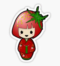 Strawberry Kokeshi Doll Sticker