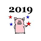 Chinese New Year 2019 Smiling Pig with Stars Color by TinyStarAmerica