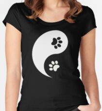 Yin and Yang - Paw Prints Women's Fitted Scoop T-Shirt