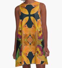 yellow-orange Cymbidium Orchid Kaleidoscope A-Line Dress
