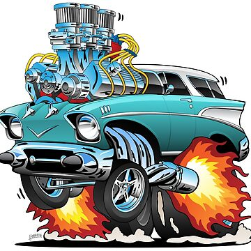 Classic Fifties Hot Rod Muscle Car Cartoon by hobrath