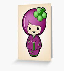 Mangosteen Kokeshi Doll Greeting Card