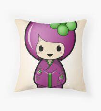 Mangosteen Kokeshi Doll Throw Pillow