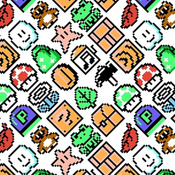 Super Mario Bros. 3 / Items 2 / pattern / white by danteartist