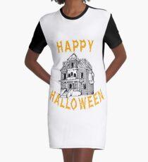 Haunted House Halloween Holiday T shirt Graphic T-Shirt Dress