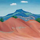 Georgia O Keeffe, Red hills with pedernal white clouds, Georgia OKeeffe, Keffe, Keffee, Keefe, Keeffee, Keeffe, Oil on canvas, Painting for sale, American Art by Design Team