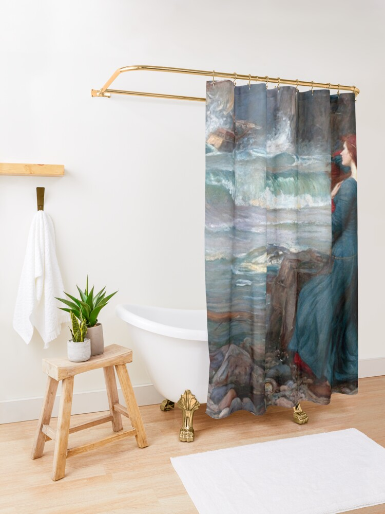 Alternate view of Miranda The Tempest John William Waterhouse Shower Curtain