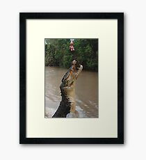 Jumping Crocodile Framed Print