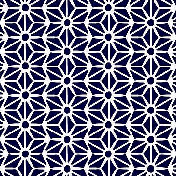 Asanoha Pattern - White on Navy by catcoq