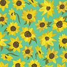 Sonnenblumen Acryl auf Türkis von Cat Coquillette